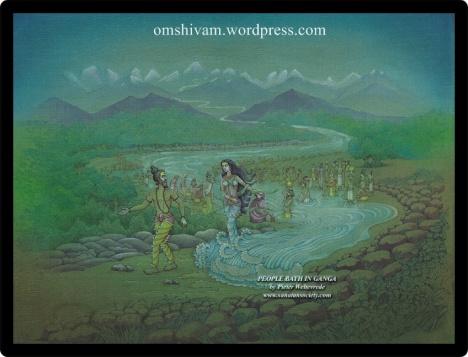 People bath in Holy Ganga